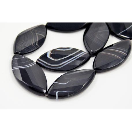 Brazīlijas sardoniskās krelles, melnbaltas, ovālas 50x25 mm