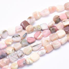 Natūralūs Rausvojo Opalo karoliukai, 8-14x6-10x4-10 mm, 1 gija