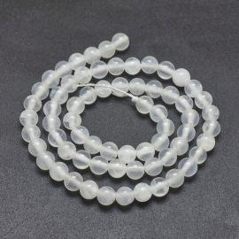 Natūralūs Selenito karoliukai, 6 mm, 1 gija