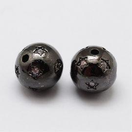 Misiņa starplika ar rhinestones, 9 mm, 1 gab