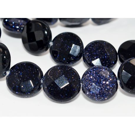 Cairo night beads dark blue, glossy, coin shaped, ribbed 10 mm