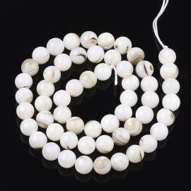 Natūralios SHELL kriauklės karoliukai, 7,5 mm, 1 gija