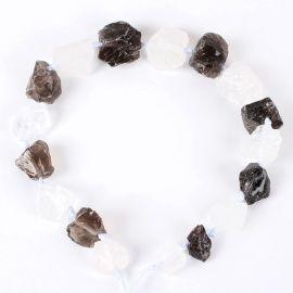 Natural pebbles - Rhinestone and Smoky quartz nuggets, 13-40x10-26x10-23 mm, 1 strand