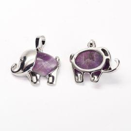 "Natural Amethist pendant ""Elephant"", 27x22x8 mm, 1 pcs"