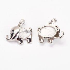 "Natural Houlite Pendant ""Elephant"", 27x22x8 mm, 1 pcs"