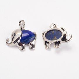 """Natural Lapis Lazuli Pendants """"Elephants"""", 27x22x8 mm, 1 pcs"""