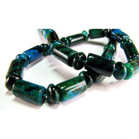 Azurito chrizokolos gija žalios spalvos sintetiniai rondelės formos 6x9mm gijoje 62vnt