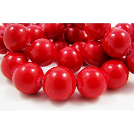 Synthetic coral beads, red, round 12 mm