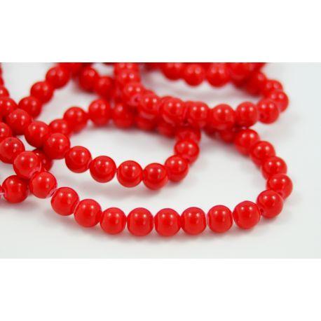 Sintetinio koralo karoliukai, raudonos spalvos, apvalūs 6 mm
