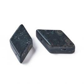 Бусины из натуральной комнатной яшмы Для ожерелья Браслеты Бижутерия Темно-зеленый - Черный Размер 17-22x9-11 мм