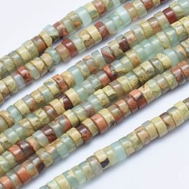 Natural Aqua Terra Jasper beads 4x2 mm 1 thread