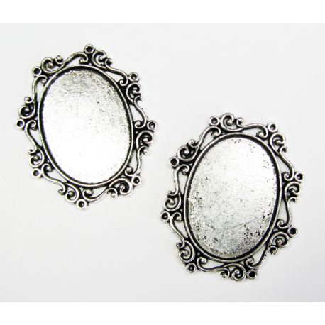 Frame - for cabochon or camouflage aged silver color, oval 30x22 mm