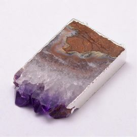 Natural Druzy Amethyst distributor-pendant 40-60x34-36x10-11 mm 1 pc