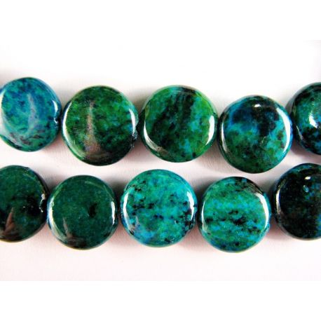 Azurito chrysococal beads dark green synthetic coin shape 12mm