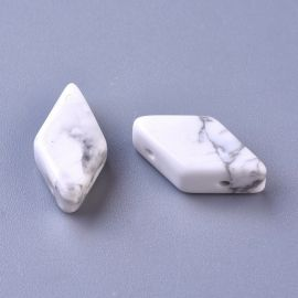 Natural Houlit beads for necklace jewelry White with gray inserts size 17-22x9-1