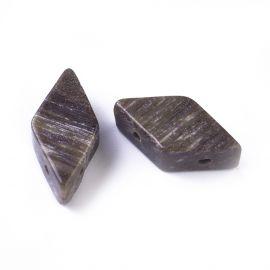 Бусины из натурального окаменелого дерева для ожерелий Коричнево-бежевый размер 17-22x9-11 мм, бриллиант