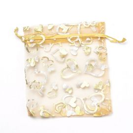 Organza bags with hearts 9x7 cm 1 pack