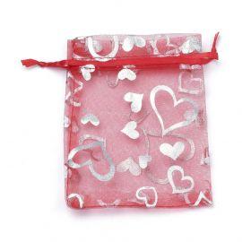 Organzos maišeliai su širdelėmis 9x7 cm 1 pakuotė