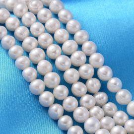 Натуральный пресноводный жемчуг для украшений ожерелья Белый размер 7x8 мм неправильной формы круглый