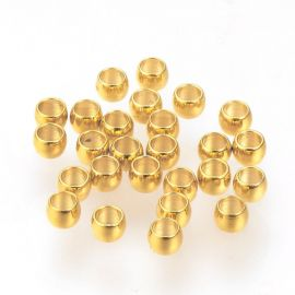 Nerūdijančio plieno 304 spaustukai vėriniamsapyrankėmspapuošalams Aukso spalvos dydis 2x1 mmformos