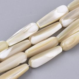 Natural SHELL beads for necklaces jewelry Brownish white size 19-20x6 mm drop shape
