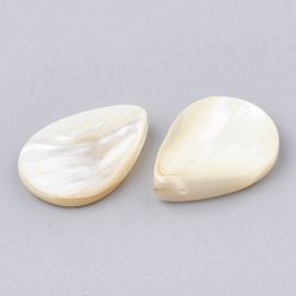 Natural SHELL beads for necklaces jewelry Warm white size 18-20x15x2-4 mm drop shape