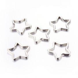 """Metaliniai raktų žiedai """"Žvaigždutės"""" 34x3 mm 5 vnt."""