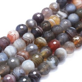 Natural Botswana Agate beads for necklaces for jewelry are variegated. Brown-gray-white size 8 mm