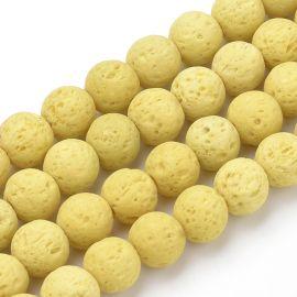 Бусины из натуральной лавы для колье-браслетов под роспись украшений. Желтый размер 8-8 5 мм форма