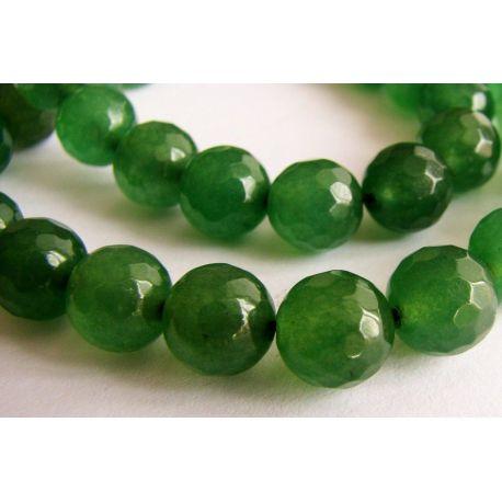 Emeraldo karoliukai žalios spalvos briaunuoti apvalios formos 8 mm