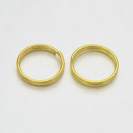 Двойные латунные кольца для колье бижутерия Золото размер 10х1 мм