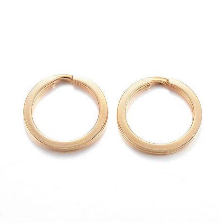 Nerūdijančio plieno 304 raktų žiedai vėriniamsapyrankėmspapuošalams Aukso spalvos dydis 16x2 mm