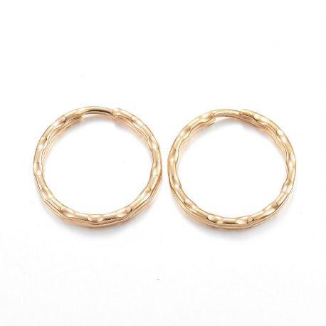 Nerūdijančio plieno 304 raktų žiedai vėriniamsapyrankėmspapuošalams Aukso spalvos dydis 21x2 mm