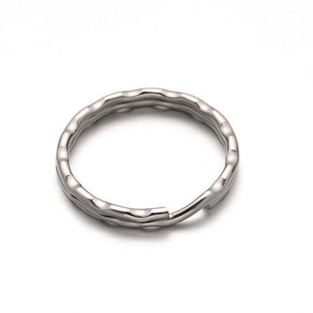 Nerūdijančio plieno 304 raktų žiedai vėriniamsapyrankėmspapuošalams Pilkos spalvos dydis 25x3 mm
