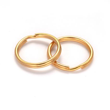 Nerūdijančio plieno 304 raktų žiedai vėriniamsapyrankėmspapuošalams Aukso spalvos dydis 20x2 mm