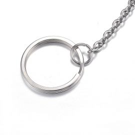 Nerūdijančio plieno 304 raktų žiedai su grandinėle 25x2 mm 4 vnt.
