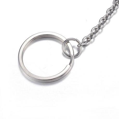 Nerūdijančio plieno 304 raktų žiedai su grandinėle vėriniamsapyrankėmspapuošalams Pilkos spalvos dydis 25x2 mm