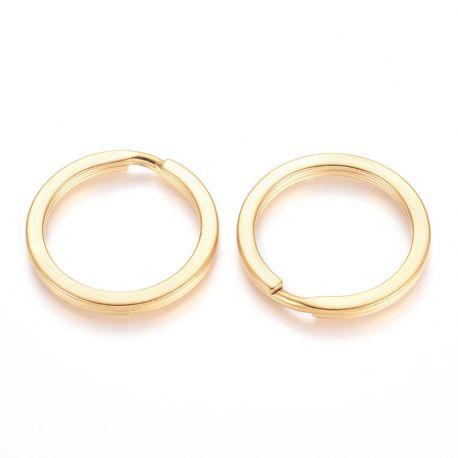 Nerūdijančio plieno 304 raktų žiedai vėriniamsapyrankėmspapuošalams Aukso spalvos dydis 30x3 mm