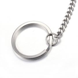 Nerūdijančio plieno 304 raktų žiedas su grandinėle 30x2 mm 4 vnt.