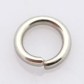 Нержавеющая сталь 304 одинарные кольца для ожерелий для украшений Серый размер 8x1 мм