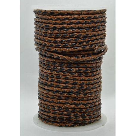 Natural braided leather cord 3 mm 1 meter