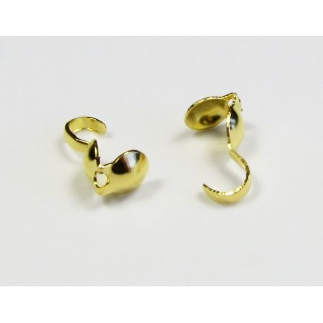 Užbaigimo detalė, užspaudžiamas burbuliukas, aukso spalvos 8,5x3,8 mm