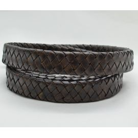 Natural braided leather strap 15.5 mm 4.5 mm 1 meter