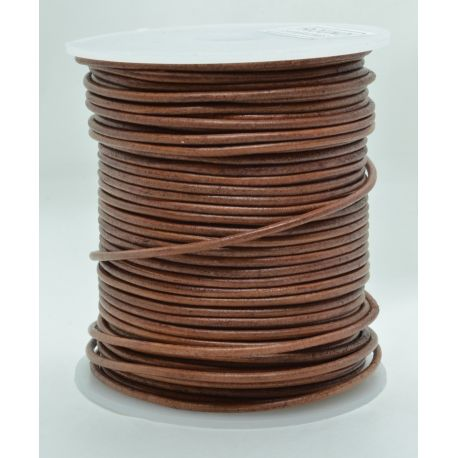 Natural leather cord 2 mm 1 meter