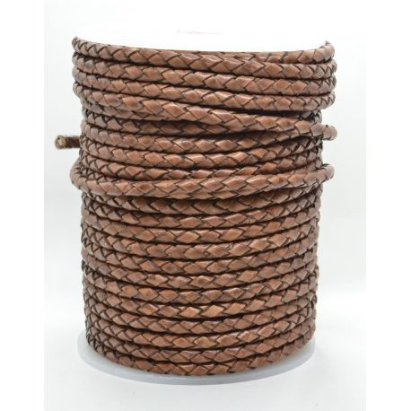 Natural braided leather cord 4 mm 1 meter