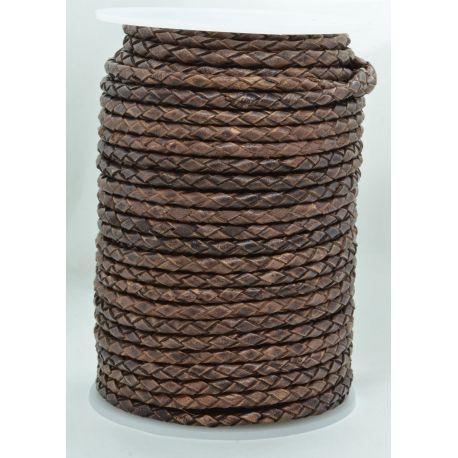 Natūrali pinta odinė virvutė 3,7 mm 1 metras