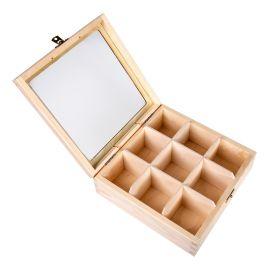 Medinė dėžutė arbatai su stiklu 22,5x22,5x8 cm 9sk. 1 vnt.