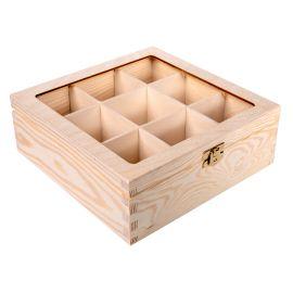Medinė dėžutė arbatai su stiklu 22,5x22,5x8 cm 1 vnt.