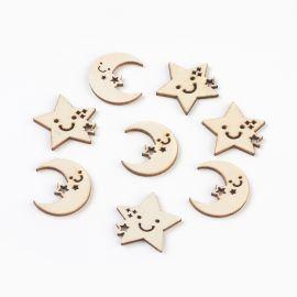 """Деревянные украшения """"Луна и Звезда"""" для ожерелий, браслетов, бижутерии. Деревянные цвета, Луна и Звезды."""