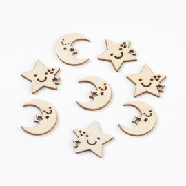 """Wooden decorations """"Moon and Star"""" for necklace bracelets jewelry Wooden colors Moon and Stars"""